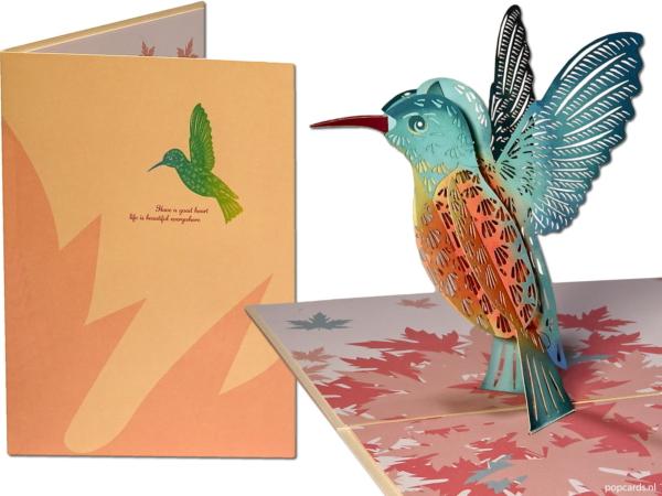 Popcards.nl pop up kaart – kolibri kolibrie vogel achteruit vliegen ijsvogel popupkaart 3D wenskaart