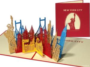 Popcards.nl pop-up-kort - New York City Manhattan Big Apple Statue of Liberty City trip Ferie pop-up-kort 3D-gratulasjonskort