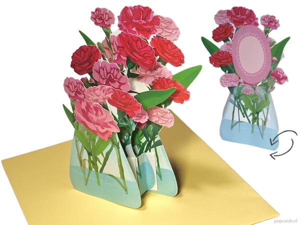 Popcards popup-kort - Vase-nelliker Bursdagskort Bryllupsblomster Nellike Vennskap Gratulasjon Bryllup Bli frisk snart Komfort-pop-up-kort 3D-gratulasjonskort