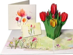 Popcards.nl pop up kaart bloemen tulpen tulp tulpenbollen tulpenrally Tulipa tulpenbos wenskaart 3D-kaart