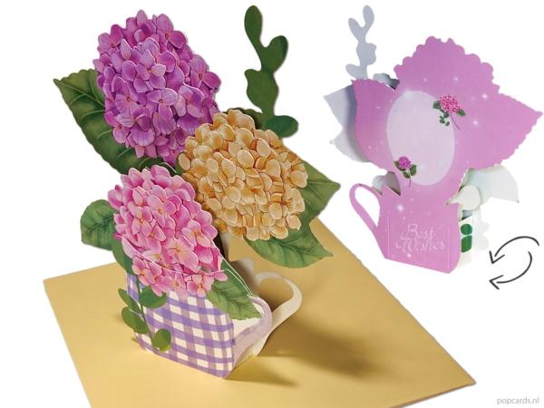 Popcards popup cards - Tarjeta de cumpleaños Boda Flores Hortensias Amistad Felicitación Boda Get well soon Comfort pop-up card Tarjeta de felicitación 3D