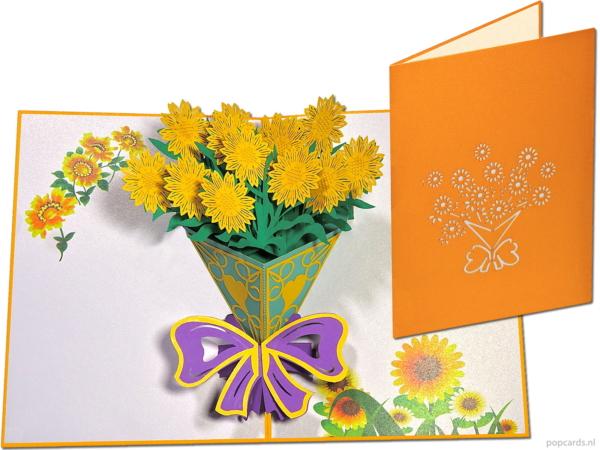 Popcards pop-up kaart zonnebloemen boeket wenskaart 3D kaart popupkaart