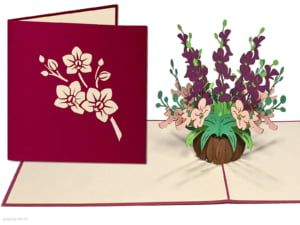 Popcards popupkaarten –Verjaardagskaart Bloemen Gemengd Boeket Orchideeën paars roze Vriendschap Felicitatie Beterschap Troostwenskaart 3d kaart