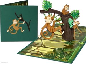 Popcards popupkaarten – vrolijke aapjes apen hangend in boom aap jungle dierentuin wenskaart 3d kaart