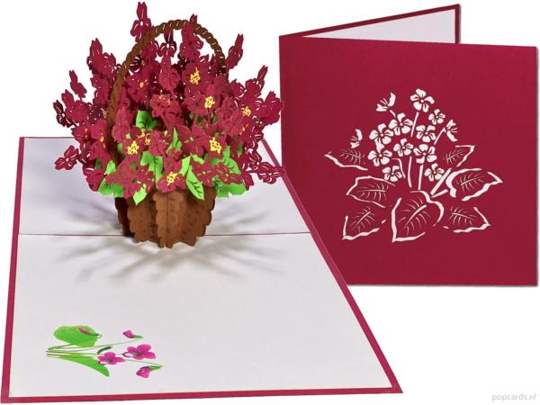 Popcards popupkaarten –Verjaardagskaart Viooltjes Bloemen Vriendschap Liefde Felicitatie Beterschap Troostwenskaart 3d kaart
