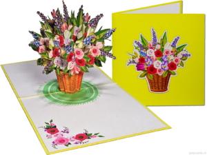 Popcards popupkaarten –Verjaardagskaart Bloemen Gemengd Boeket rieten mand mandje Vriendschap Felicitatie Beterschap Troostwenskaart 3d kaart