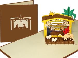 Popcards popup-kort - nativity scene inn fødsel kirke baby spædbarn jesus stjal jul Betlehem joseph mary pletfri undfangelse julekort