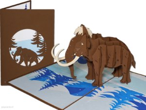 Popcard popcards carte - mammut lanoso dal pleistocene animale giorno dinosauro elefante elefante elefanti mammuthus biglietto di auguri 3d card