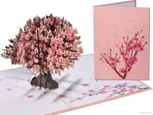 Popcards Popup-Karten – Sakura Kirschblüte rosa Kirschbaum Liebe Glück Lebensbaum Komfort Todesblumen Grußkarte 3D-Karte