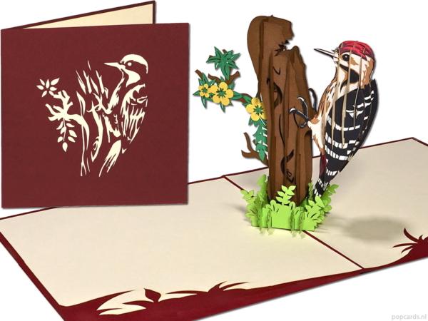 Popcards popup cards - Tarjeta de cumpleaños Bird Spotted Woodpecker Freedom Felicitación Tarjeta de reubicación de cumpleaños Tarjeta de felicitación Tarjeta 3d