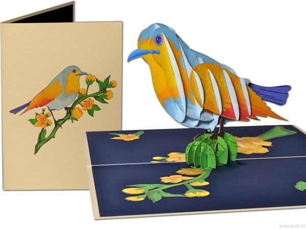 Popcards pop-up cards – Biglietto di compleanno uccello ornamentale giallo blu Bird Freedom Congratulazioni Biglietto di auguri di compleanno 3d card